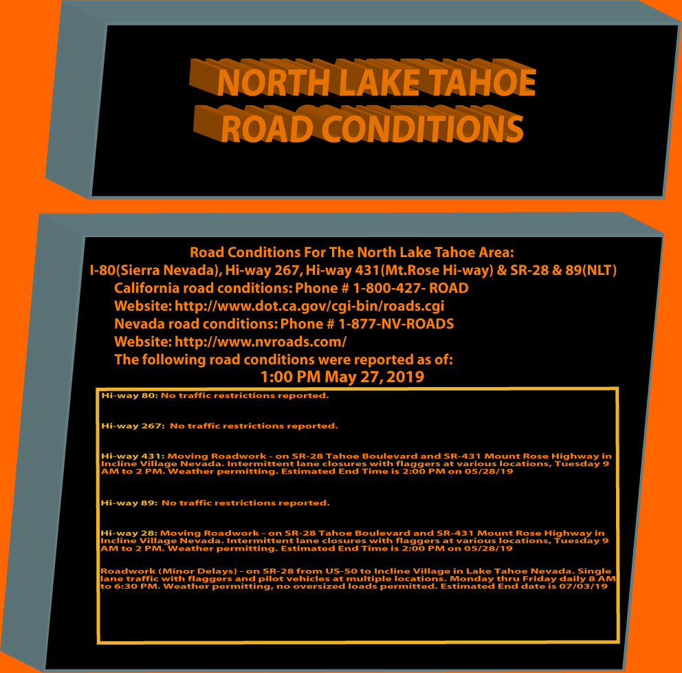 North Lake Tahoe Road Conditions